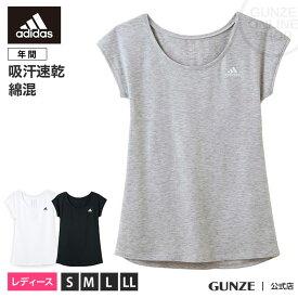 GUNZE(グンゼ) / adidas(アディダス) / フレンチスリ−ブ(レディース) / AP1052 / S〜LL 夏用 婦人 スポーツ フィットネス ジム ウェア 婦人 Tシャツ トップス GUNZE13