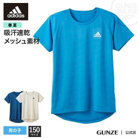 【150cm】GUNZE(グンゼ) / adidas(アディダス) / クルーネックTシャツ(男の子) / APC1375 / 150cm男児/小学生/中学生/高校生/スポーツ/部活/学生/下着/男子/体育/体操