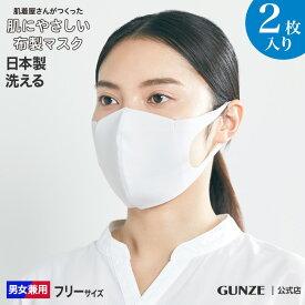 布マスク GUNZE グンゼ マスク 日本製 肌にやさしい 洗える 布製マスク 大人用 2枚入り 男女兼用 MAS002 フリー 肌着マスク やわらかい 国産 立体型 耳 痛くなりにくい フィット 快適 安心 通勤 通学 大人用 予防 綿混 衛生 フィルター 二重構造 年間 GUNZE11 送料無料