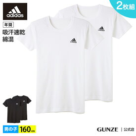 GUNZE(グンゼ)/adidas(アディダス)/Tシャツ(2枚組)(子供140〜160cm)(男の子)/AP13802/160cm 丸首 クルーネック 綿混 コットン 綿 ワンポイント ドライ キッズ 2P パックT 白 黒 ホワイト ブラック 年間 GUNZE16