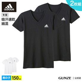 アウトレット セール アディダス Vネック Tシャツ 男の子 ボーイズ 子供 年間 下着 肌着 インナー adidas グンゼ V首 ドライ 速乾 綿混 抗菌 AP15752 150 GUNZE16