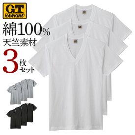 ホーキンス Vネック Tシャツ 3枚セット メンズ グンゼ G.T.HAWKINS V首 インナー 天竺 肌着 綿100 コットン HK15153 M-LL GUNZE11