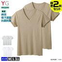 GUNZE グンゼ YG ワイジー【DRY&DEO】VネックTシャツ 2枚組 2枚セット YV01152 M-LL V首 抗菌防臭加工 速乾 綿混 下着…