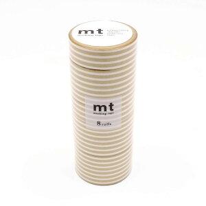 【ネコポス不可】mt マスキングテープ 8P ボーダー・金 MT08D390【A】【キャンセル・返品不可】