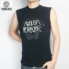 ヴェルサーチ Versace メンズ トップス 袖なし Tシャツ スタッズ・スネーク文字入りノースリーブ ブラック 色違い(ホワイト)あり JV3710-30792-BK (R29800)【送料無料】【smtb-TK】