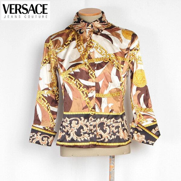 【サイズM】ヴェルサーチジーンズ Versace JEANS レディース ブラウス 長袖 スカーフ柄 CV7640 15214 002 CAMICIA ブラウン/ゴールド【送料無料】【smtb-TK】