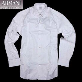 アルマーニ コレッツォーニ ARMANI COLLEZIONI メンズ トップス 白 ホワイト ドレスシャツ ワイシャツ 長袖 無地 ビジネス用  SCCM5L SCC45 100 15A (R25200) 【送料無料】【smtb-TK】
