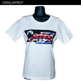 ディースクエアード DSQUARED2 レディース ラウンドネック 半袖 Tシャツ 白 S72GC0971 S22844 100 71S (R20520)【送料無料】【smtb-TK】