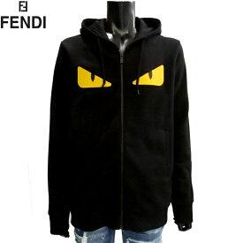 フェンディ FENDI メンズ トレーナー モンスター ジップアップ パーカー 黒 ブラック 黄色の目 イエローアイ スウェット FY0796 5EY F0QA1 81S (R125280)【送料無料】【smtb-TK】