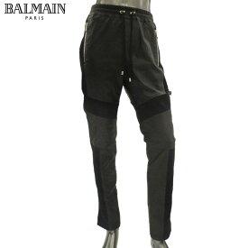 バルマン BALMAIN メンズ パンツ スウェット 切り替えデザイン レザー S8H 5180 P160 176 NOIR/BLACK 81S (R399600) 【送料無料】【smtb-TK】