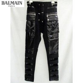2018年秋冬新作 バルマン BALMAIN メンズ パンツ PVCストレッチパンツ スウェット パンツ 黒ブラック W8H5074J928 JER 176 81A (R132840) 【送料無料】【smtb-TK】