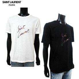 サンローランパリ SAINT LAURENT PARIS メンズ トップス Tシャツ 半袖 2color アニマル柄ブランドロゴプリント付きTシャツ 白/黒 553378 YBCL2 8486/1068 91S (R49680)【送料無料】【smtb-TK】