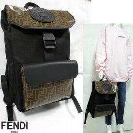 フェンディ FENDI メンズ 鞄 バッグ バックパック ユニセックス可 FFズッカ柄・スタンプロゴ入りポケット付きバックパック 黒 7VZ045 A6KK F17PY 91A (R153000)【送料無料】 【smtb-TK】