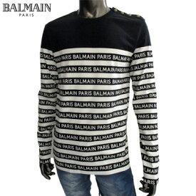 2019年秋冬新作 バルマン スウェットシャツ メンズ ボーダー柄BALMAINロゴ入り長袖Tシャツ ストライプ柄 ブラック ホワイト 黒 白 SH11250 I101 EAB (R68040)【送料無料】smtb-tk】 91A