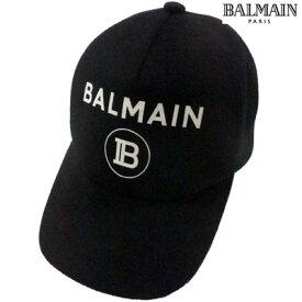 2019年秋冬新作 バルマン BALMAIN メンズ キャップ 帽子 ロゴ ユニセックス可 サイズ調節可 カシミヤ混BALMAINロゴプリント入りキャップ ブラック SH0A050 W010 0PA (R37800) 91A【送料無料】 【smtb-TK】