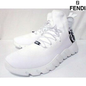 フェンディ FENDI メンズ 靴 スニーカー ロゴ かかと部分FFズッカ柄・紐部分FENDIロゴ付きスニーカー 白 7E1347 AC7H F13SS (R108900) 02A 2020年秋冬新作【送料無料】 【smtb-TK】