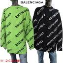 バレンシアガ BALENCIAGA メンズ トップス ニット セーター ロゴ ユニセックス可 総柄BALENCIAGAロゴ・袖/裾カットオ…