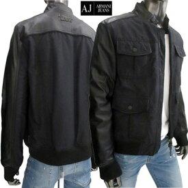 アルマーニジーンズ(ARMANI JEANS) メンズ ジャケット アウター バックラバーロゴワッペン付きレザー切り替えしジャケット ブラック 16B20 CA 12 (R79900) 8A【送料無料】 【smtb-TK】