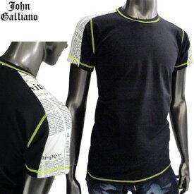 ジョンガリアーノ(JOHN GALLIANO) Tシャツ メンズ 半袖 トップス クルーネック ブラック 黒 T41 H083 2011 (R14800)【楽ギフ_包装】【smtb-tk】【送料無料】 GB11S