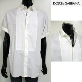 ドルチェ&ガッバーナ(DOLCE&GABBANA) ドレスシャツ メンズ トップス 半袖 袖ベルト カッターシャツ ホワイト 白 G5AQ2T FU5GK W0800 【楽ギフ_包装】【smtb-tk】 (R54800)【送料無料】 12S