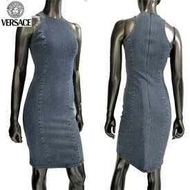 【サイズ36】ヴェルサーチ ノースリーブデニムワンピースドレス レディース Versace ブルー 青 FY7415 11088 700 (R28800)【楽ギフ_包装】【smtb-tk】【送料無料】 3S