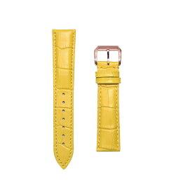 腕時計 ベルト 17mm レザー イエロー ピンインバックル ピンクゴールド n-ye-p 交換工具付属