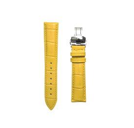 腕時計 ベルト 17mm レザー イエロー プッシュ式Dバックル シルバー pd-ye-s 交換工具付属