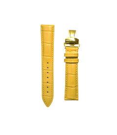腕時計 ベルト 16mm レザー イエロー プッシュ式Dバックル イエローゴールド pd-ye-y 交換工具付属