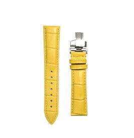 腕時計 ベルト 17mm レザー イエロー Dバックル式 シルバー sd-ye-s 交換工具付属