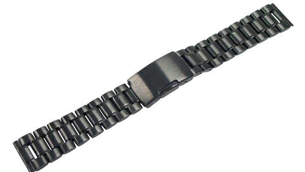 LUMINOX ルミノックス 対応 腕時計 ステンレス ベルト 23mm 直カン式 黒 ステンレス無垢 3連 サイドプッシュ式バックル 交換工具付属 腕時計 ベルト 交換 メール便可