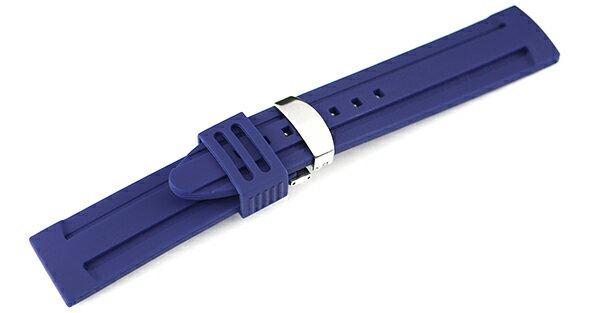 腕時計 ラバー ベルト 22mm 24mm シリコン ネイビー バックル スナップ式 Dバックル シルバー 交換工具付属