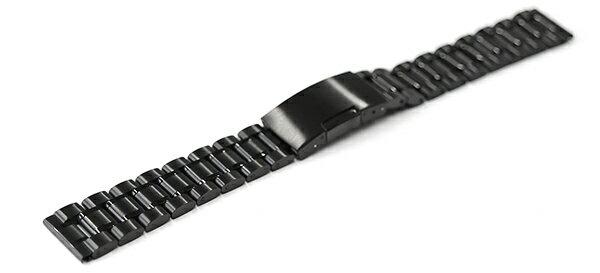 腕時計 ステンレス ベルト 14mm 16mm 17mm 18mm 19mm 20mm 21mm 22mm 23mm 24mm 黒 ブラック 直カン 三つ折れ サイドプッシュ式バックル cs-b 交換 バンド