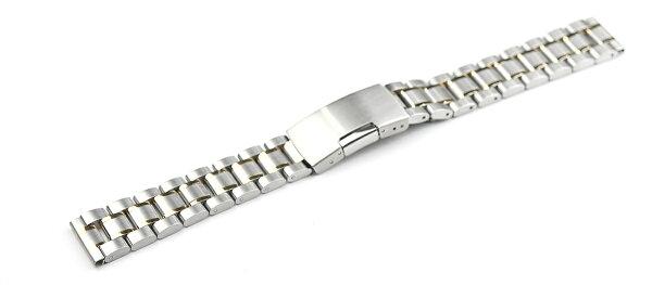 腕時計ステンレスベルト16mm17mm18mm19mm20mm21mm22mm23mm24mm26mmシルバーゴールドコンビ直カンサイドプッシュ式バックルcs-svgd