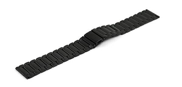 腕時計 ステンレス ベルト 23mm 3連 ブレス マット 仕上げ イージークリック 黒 ブラック ss002-23bk-c スライド式バネ棒 ワンタッチバネ棒 バンド 交換