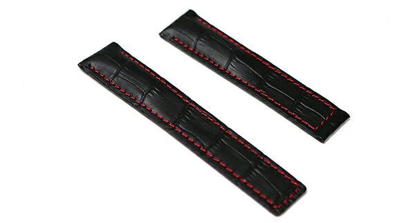 タグホイヤー カレラ モナコ 用 レザー ベルト 20mm 22mm 牛革 クロコダイル型押し 黒 赤 ステッチ 純正Dバックル 対応 tag-l-1-bkre-t0 バンド 交換