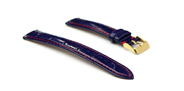 腕時計 レザー ベルト 18mm 19mm 20mm 22mm ネイビー 赤 ステッチ クロコダイル型押し 牛革 ピンバックル イエローゴールド l002-re-n-y 腕時計 交換 ベルト