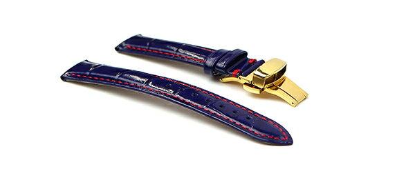 腕時計 レザー ベルト 18mm 19mm 20mm 22mm ネイビー 赤 ステッチ クロコダイル型押し 牛革 プッシュ式 Dバックル イエローゴールド l002-re-pd-y 腕時計 交換 バンド