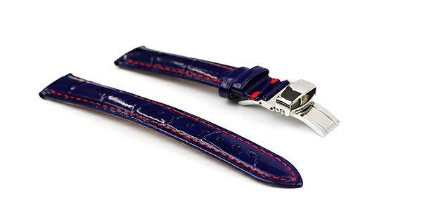 腕時計 レザー ベルト 18mm 19mm 20mm 22mm ネイビー 赤 ステッチ クロコダイル型押し 牛革 Dバックル シルバー l002-re-sd-s 腕時計 交換 バンド