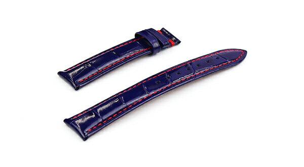 腕時計 Dバックル 交換 レザー ベルト 18mm 19mm 20mm 22mm ネイビー 赤 ステッチ クロコダイル型押し 牛革 l002-re-t0 Dバックル用ベルト
