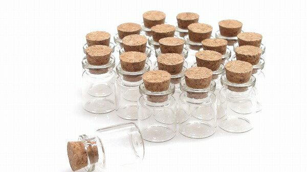コルク瓶 M 2.2cm×3cm 20本セット コルク栓付 ガラスビン メール便可