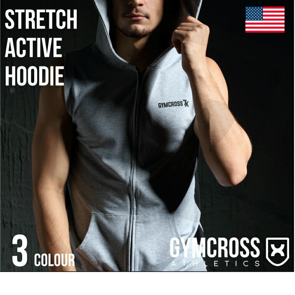 ●送料無料●GYMCROSS ストレッチ フルジップ ライトウェイト スリーブレス パーカー[メンズ] フィットネスウェア ジムウェア ボディビル ウェイトトレーニングStretch sleeveless fullzip hoodie USA