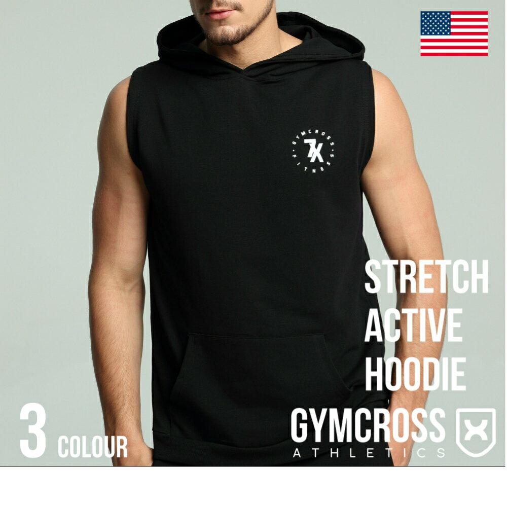 ●SALE●GYMCROSS ストレッチ プルオーバー ライトウェイト スリーブレス パーカー[メンズ] フィットネスウェア ジムウェア ボディビル ウェイトトレーニングStretch sleeveless hoodie USA