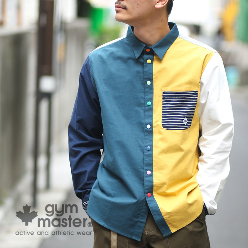 『GO OUT』『2nd』掲載!gym master(ジムマスター) G102602 カラフルスナップボタン 2WAYシャツ