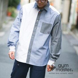 gym master(ジムマスター)公式 カラフルスナップボタン2WAYシャツジムマスター|シャツ|無地|チェック|デニム|ストライプ|リブ|ノーカラー|レギュラーカラ—|メンズ|レディース|ユニセックス|クレージー 長袖Yシャツ|コーデ|G302602