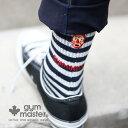 gym master(ジムマスター) ウール混刺繍ソックス|ウール|靴下|ユニセックス|覆面レスラー|ボーダー|ロゴ入り|ギフト|ハロウィ…