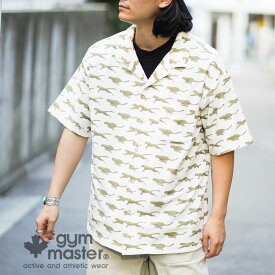 gym master(ジムマスター)公式 梨地ハッピーペイントオープンカラーシャツ 『GO OUT』掲載|メンズ|レディース|ユニセックス|総柄|トップス|開襟襟|春夏|カジュアル|レトロ|洗いざらし|海外発送|G433696