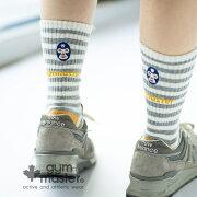 gymmaster(ジムマスター)ウール混刺繍クルーソックス靴下|ソックス|ユニセックス|覆面レスラー|プロレス|ボーダー|ロゴ入り|ギフト|プレゼント|海外発送|G566633