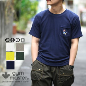 gym master(ジムマスター) G933319 梨地 GOOFY クマ ポケット付き |tシャツ|半袖|メンズ|レディース|プリントT|かわいいtシャツ