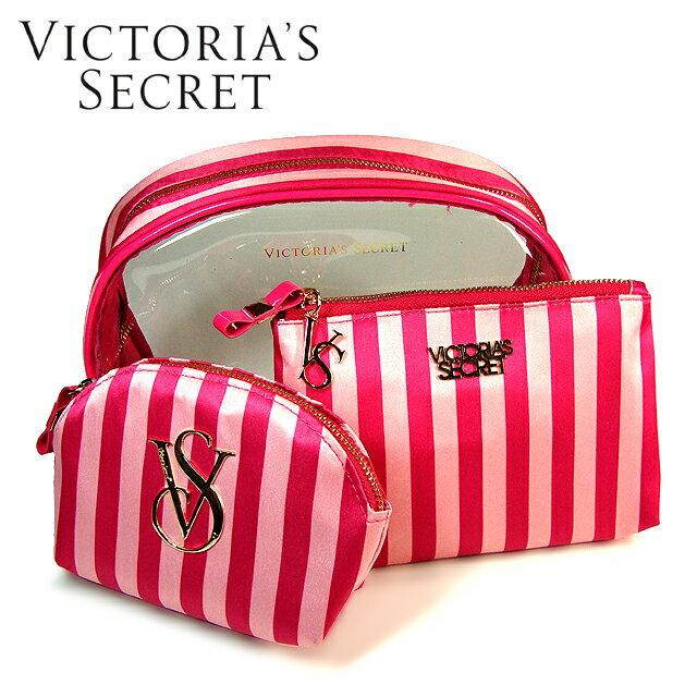 【送料無料】VICTORIA'S SECRET ヴィクトリアシークレット ビクシー ビクトリア ポーチ3点セット 化粧ポーチ ゴールドロゴ ピンクストライプ