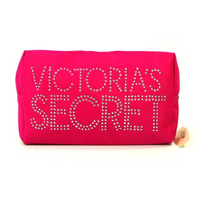 【送料無料】VICTORIA'S SECRET ヴィクトリアシークレット ビクシー ポーチ スタッズロゴ ピンク 金具持ち手
